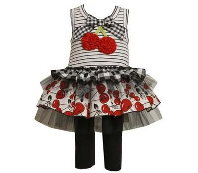 Baby Girls Black / White Cherry Dress & Leggings Outfit Set 2T