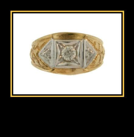 Mans 14K Solid Yellow Gold Diamond Nugget Dinner Ring